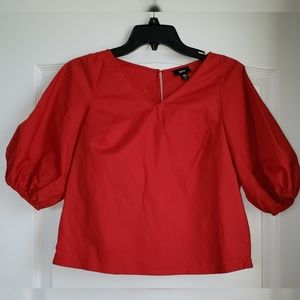 Red Bubble Sleeve Top